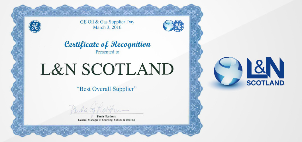 L&N Scotland named Best Overall Supplier by GE
